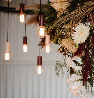 Naked Bulbs with Burgundy & Pink Fittings