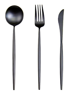 Slimline Matte Black Cutlery - Set of 3