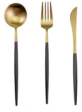 Slimline Black + Gold Cutlery - Set of 3