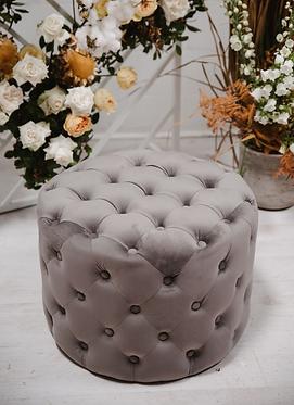 Deep Button Ottoman - Grey