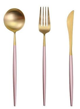 Slimline Pink + Gold Cutlery- Set of 3