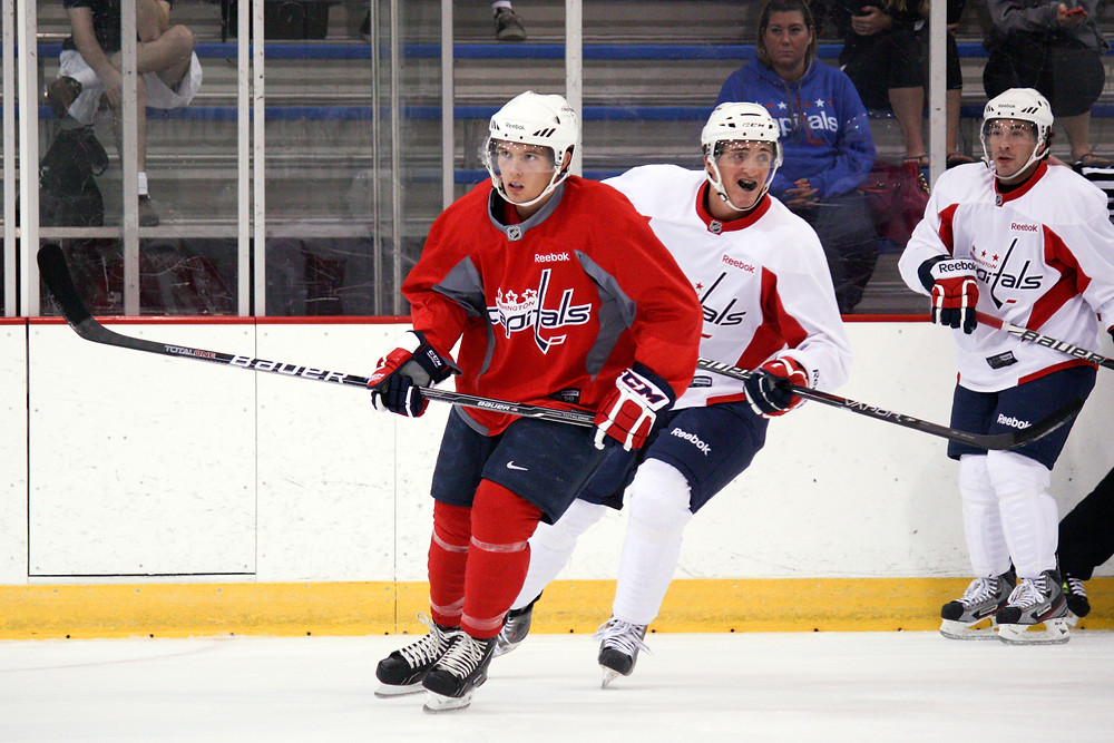 Riley Barber (in red) at the Washington Capitals' 2012 development camp