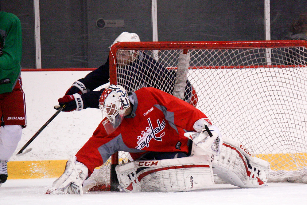 Braden Holtby makes a save during a Washington Capitals practice.