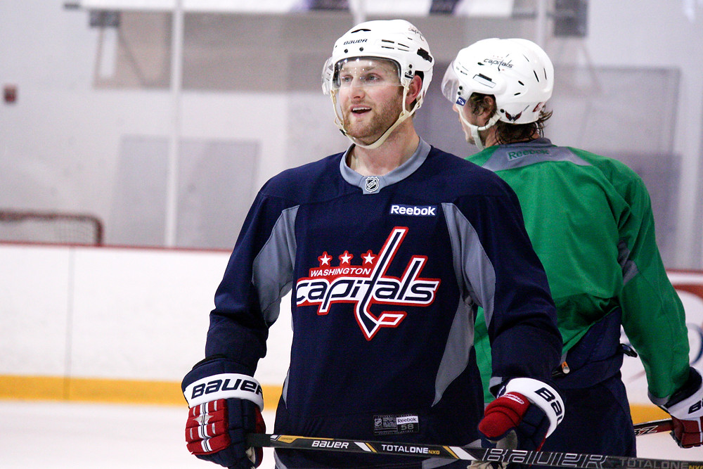 Karl Alzner waits for a new drill to start during the Washington Capitals' 2013 training camp.