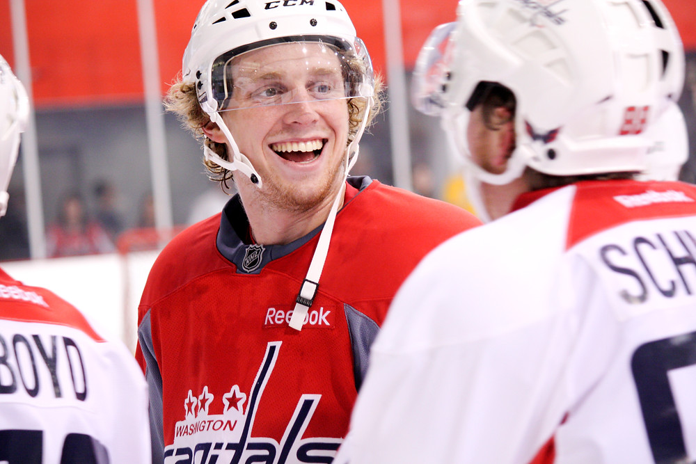 Garrett Haar laughs during a break in a scrimmage at the Washington Capitals' 2012 development camp.