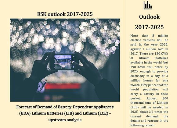 ESK Outlook 2017-2025 Demand of Lithium, Batteries and Batt-Dependent Applian