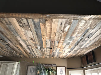 Reclaimed barn wood ceiling