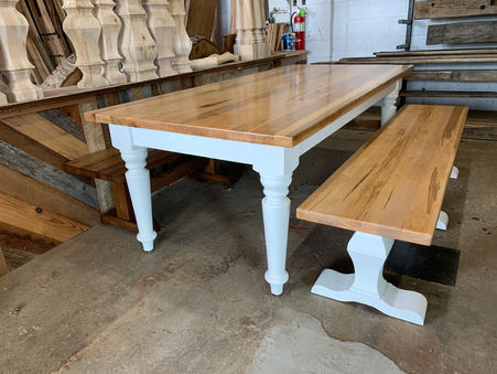 Matching Maple Dining Table and Bench