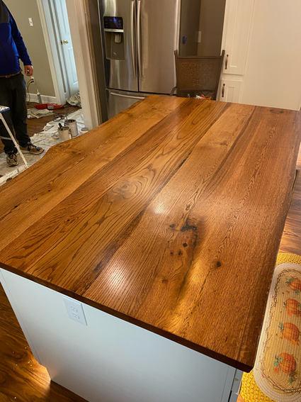 Live edge wood kitchen island countertop