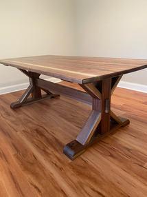 Custom black walnut trestle table