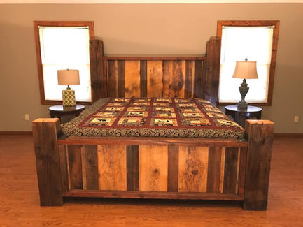 Custom rustic reclaimed wood bed