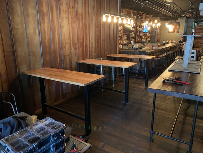 Reclaimed wood restaurant tables