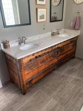Reclaimed barn wood bathroom sink vanity