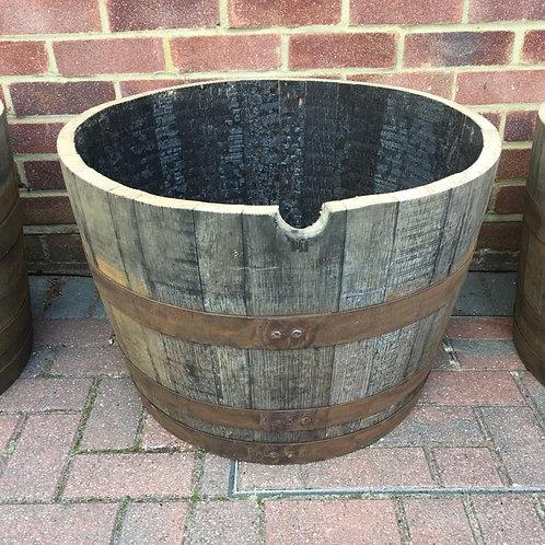 Rustic Solid Oak Half Barrel Planter