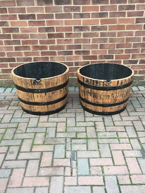 Pair of Solid Oak Half Barrel Planter finished with Danish Oil