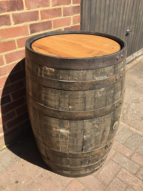Solid Oak Whole Rustic Barrel with Danish Oiled Top