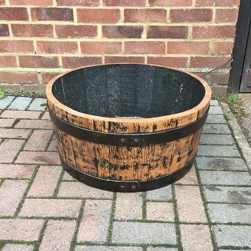 Solid Oak Quarter Barrel Planter (short)