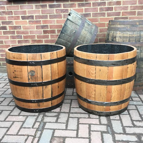 Pair of Solid Oak Three-Quarter Barrel Planter finished with Danish Oil