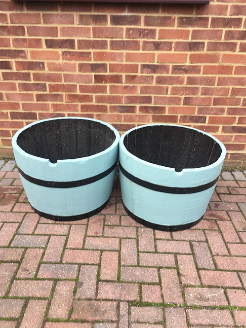 Pair of Painted Oak Planter in Duck Egg Blue
