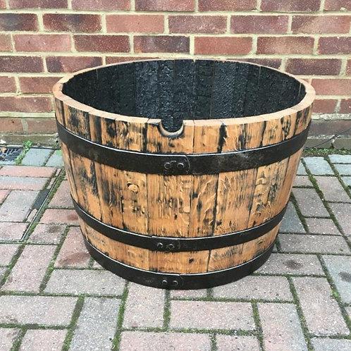 Solid Oak Half Barrel Planter finished with Danish Oil