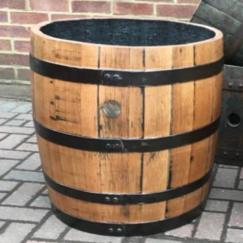 Solid Oak Three-Quarter Barrel Planter finished with Danish Oil