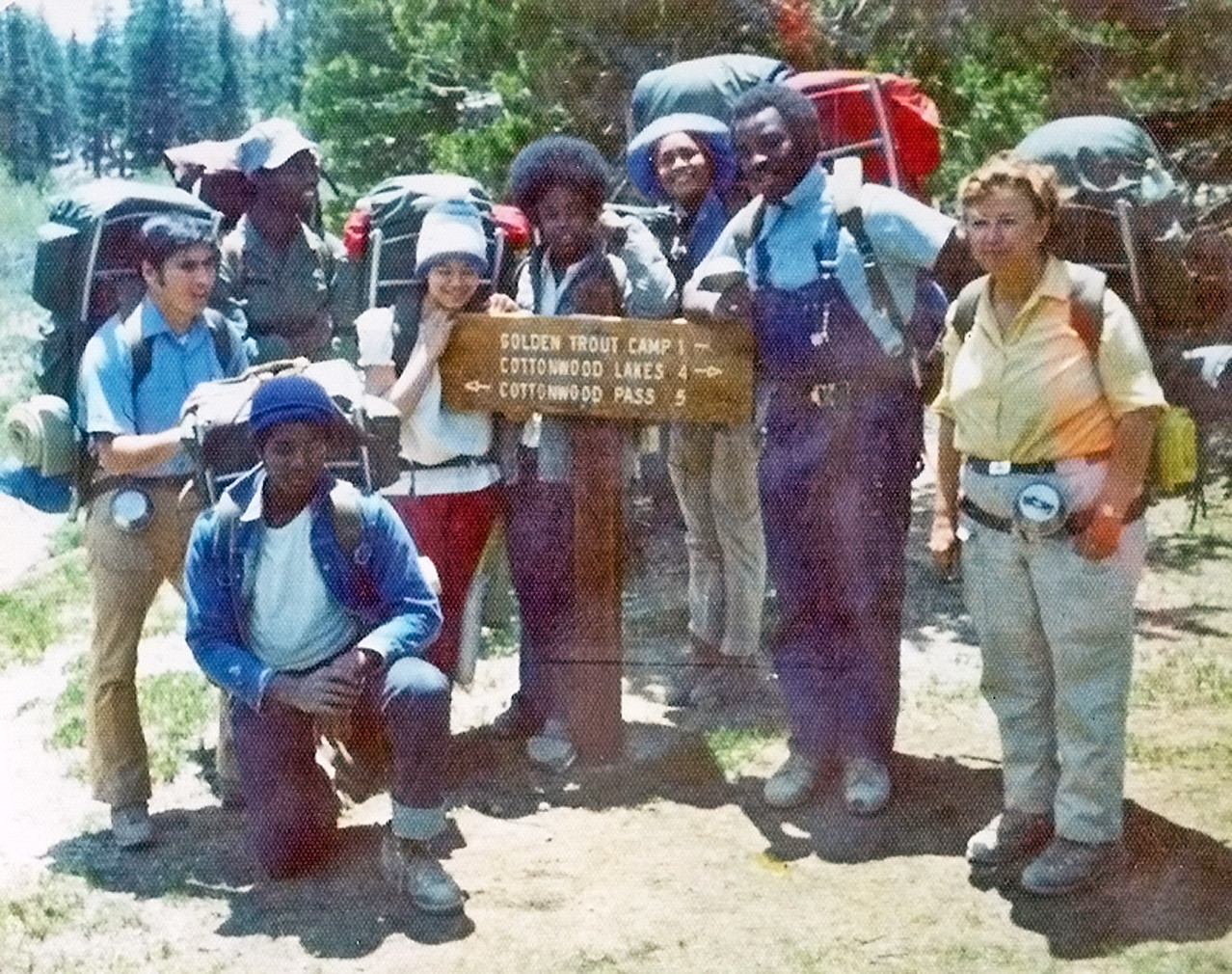 1978 - Helen Mary Wiliams with OBA youth in the High Sierra