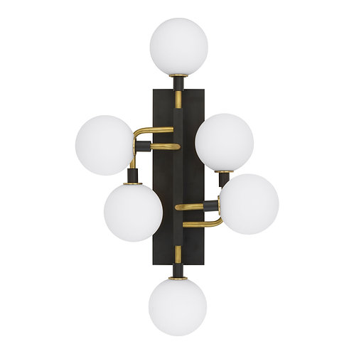 Mid-Century Inspired Wall Light with Opal Globe