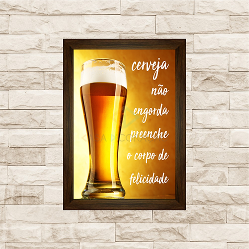 6241 - Quadro com moldura Cerveja Não Engorda...