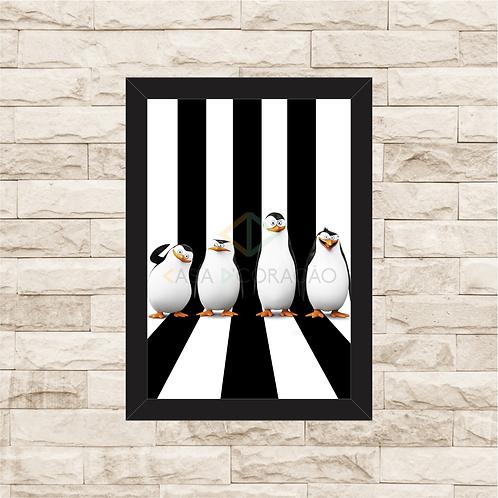1687 - Quadro com moldura Os Pinguins de Madagascar