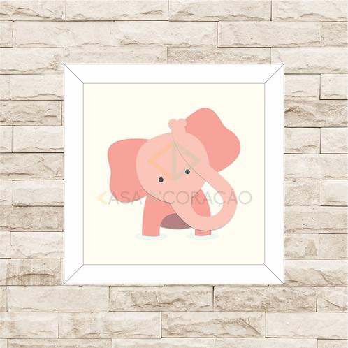 4039 B - Quadro com moldura Elefantinho - Rosa