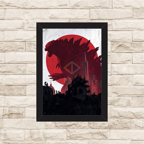 1539 - Quadro com moldura Godzilla