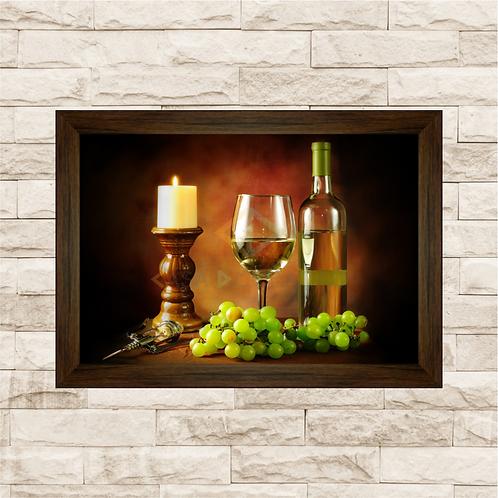 6236 - Quadro com moldura Frutas e Vinho