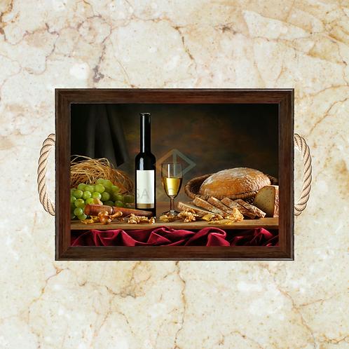 10023 - Bandeja Decorativa - Pão e Vinho