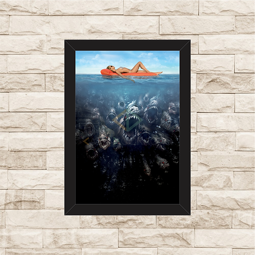 1595 - Quadro com moldura Piranhas