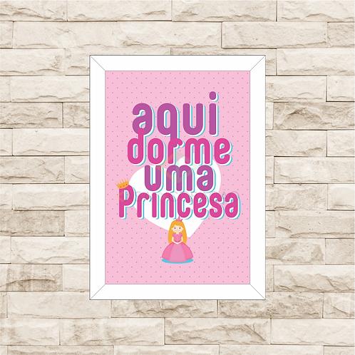 4160 - Quadro com moldura Aqui Dorme uma Princesa