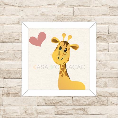 4036 A - Quadro com moldura Girafinha - Rosa