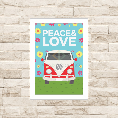 6053 - Quadro com moldura Paz & Amor