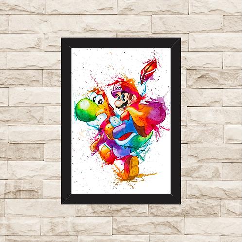 1184 - Quadro com moldura Super Mario e Yoshi