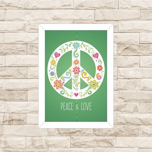 6292 - Quadro com moldura Pace & Love - Paz e Amor