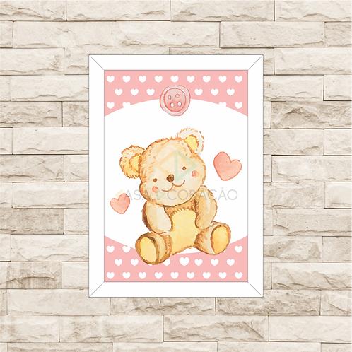 4022 - Quadro com moldura Urso - Rosa