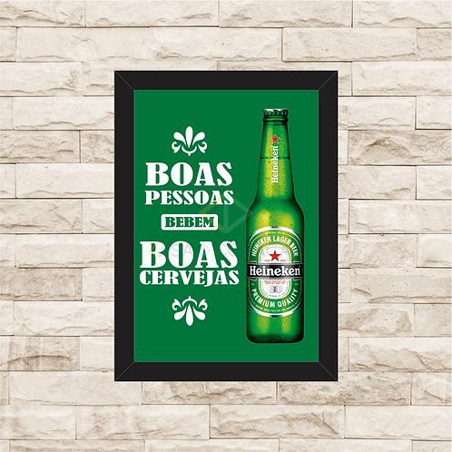 5037 - Quadro Para Guardar Tampinhas - Boas Pessoas, Boas Cervejas