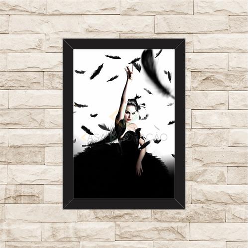 1483 - Quadro com moldura Cisne Negro