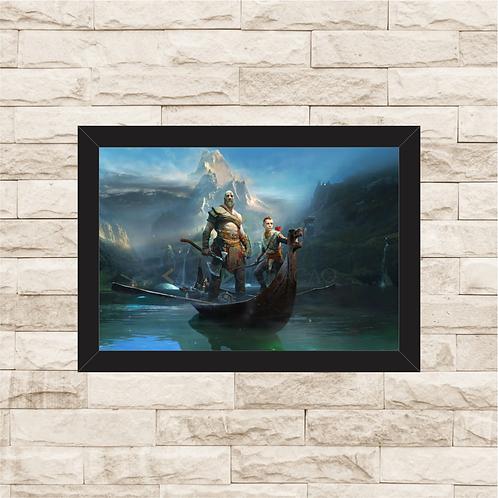 1021 - Quadro com moldura God of War - Kratos e Atreus