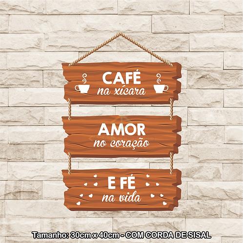 30113 - Placa Decorativa - Café na Xícara...
