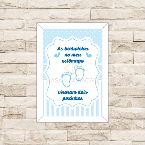 4051 - Quadro com moldura Borboletas no Estômago Azul