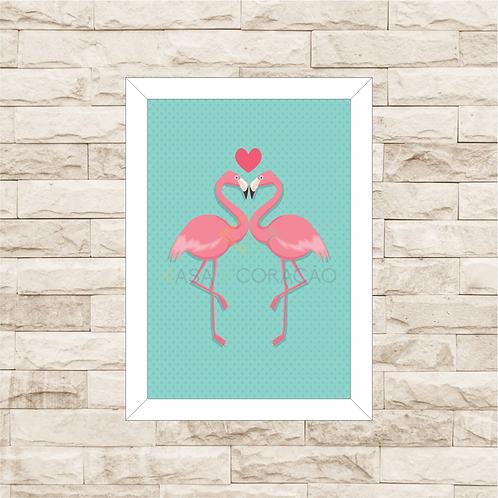 6009 - Quadro com moldura Flamingos