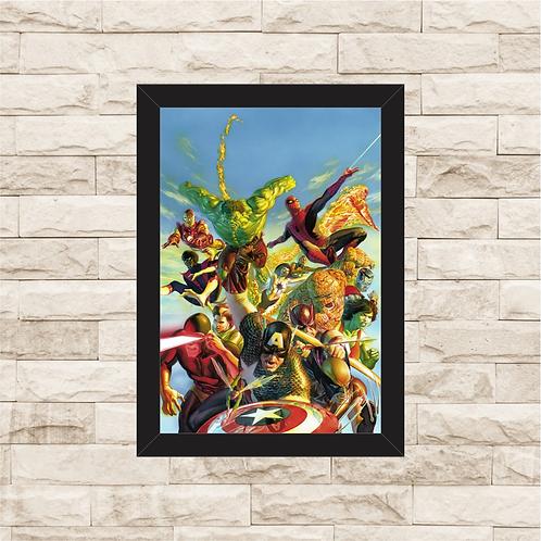 1117 - Quadro com moldura Heróis Marvel