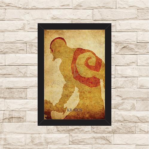 1026 - Quadro com moldura God of War - Kratos