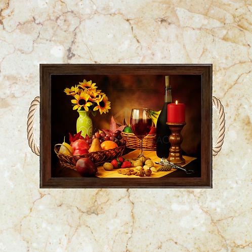 10021 - Bandeja Decorativa - Frutas e Vinho