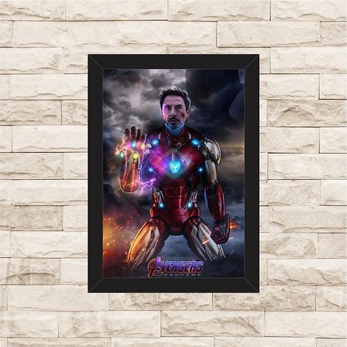 1750 - Quadro com moldura Vingadores - Homem de Ferro - Punho de Thanos